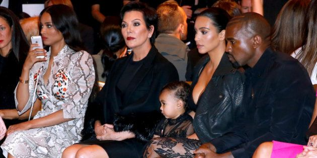 PARIS, FRANCE - SEPTEMBER 28: (L-R) Singer Ciara, Mother of Kim Kardashian, Kris Jenner, Kim Kardashian,...