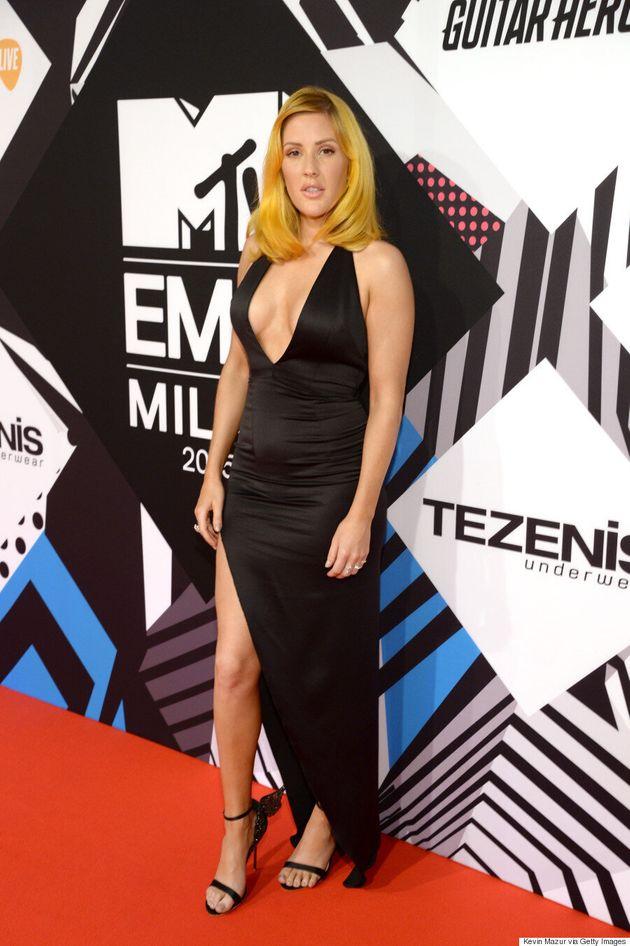 Ellie Goulding Shows Off New Vibrant Orange Hair On The 2015 MTV EMAs Red