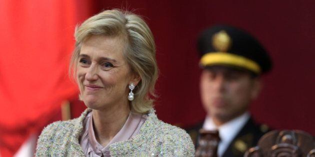 Princess Astrid of Belgium smiles during an event at the municipality headquarters in Lima, Peru, Thursday,...