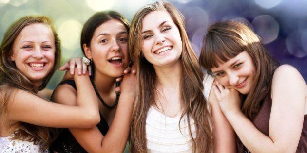 students girls having fun