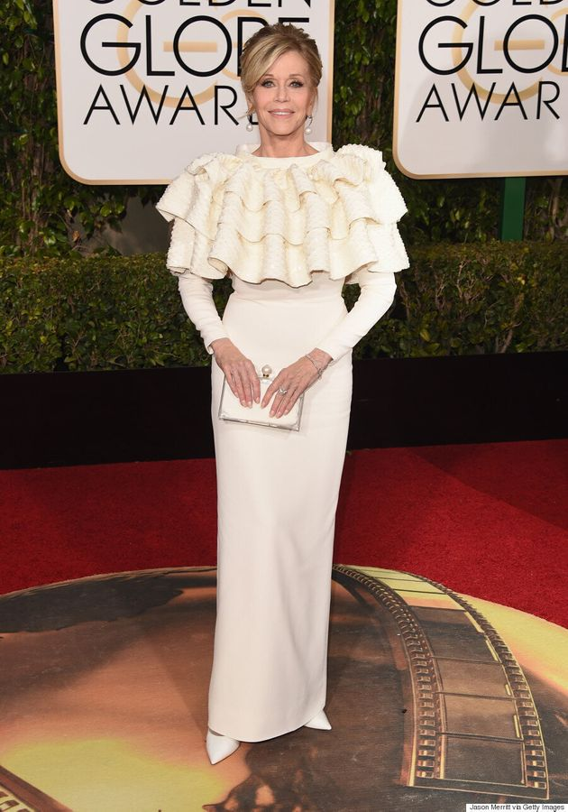 Jane Fonda Wears Dramatic Ruffles On 2016 Golden Globes Red