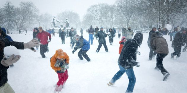 The snowball fight in Lincoln Park on Capitol