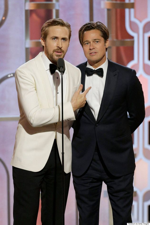 Ryan Gosling, Brad Pitt Present Together At The 2016 Golden