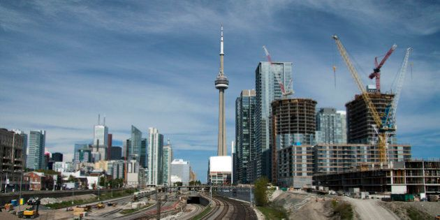 Toronto skyline from Bathurst Street bridge looking east CN Tower, financial district and new condominium