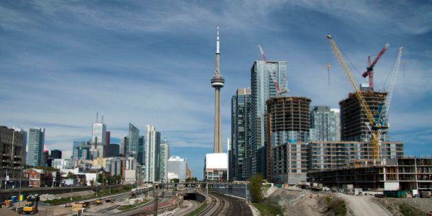 Toronto skyline from Bathurst Street bridge looking east CN Tower, financial district and new condominium construction.