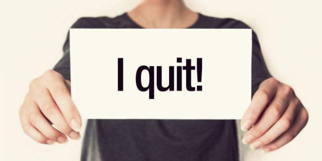 i quit. female in black