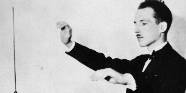 12th December 1927: Professor Leon Theremin demonstrating his theremin. The theremin was the world's...