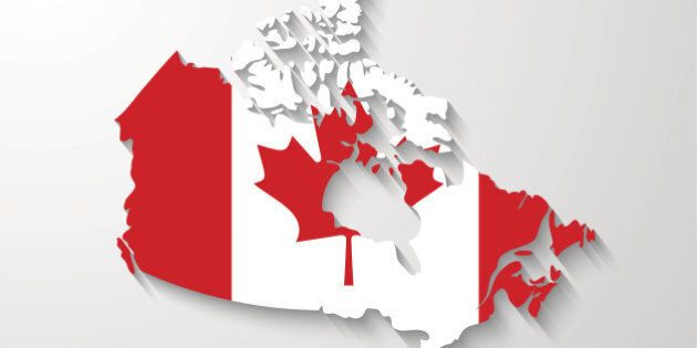Canada map with shadow effect presentation sample