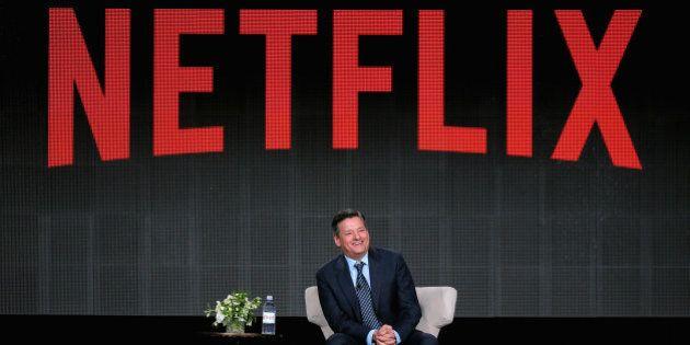 PASADENA, CA - JANUARY 07: Netflix Chief Content Officer Ted Sarandos speaks during the Netflix TCA Press...
