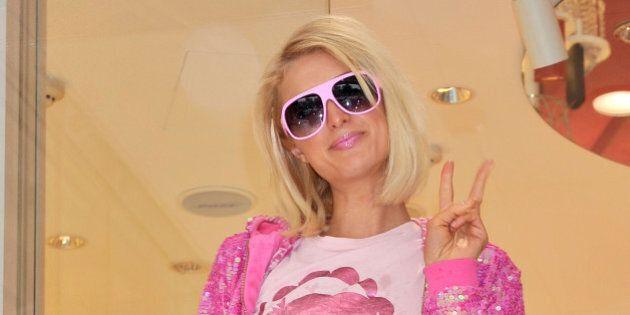 TOKYO - MAY 31: Paris Hilton visits Samantha Thavasa Omotesando Gates Store on May 31, 2008 in Tokyo,...