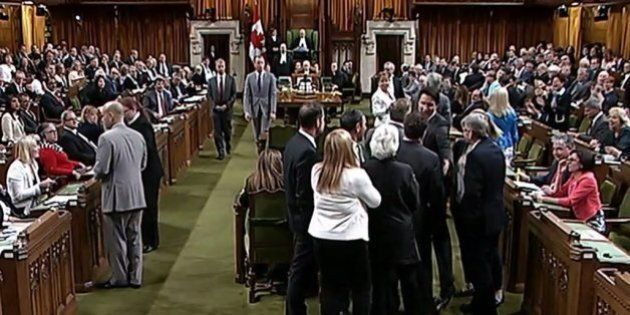 This photo from video provided by the Canadian House of Commons shows Canadian Prime Minister Justin...