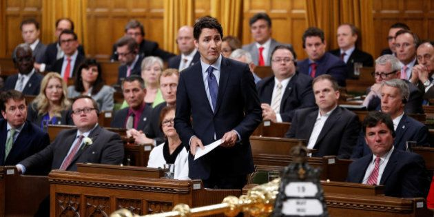 Canada's Prime Minister Justin Trudeau delivers an apology in the House of Commons on Parliament Hill...