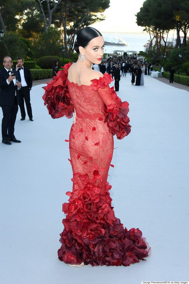 Cannes amfAR Gala 2016: Katy Perry Is The IRL Red Dress Dancing Emoji In