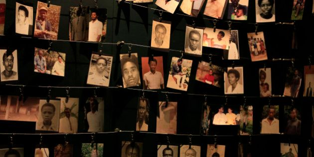 Photographs of people who were killed during the 1994 genocide are seen inside the Kigali Genocide Memorial...