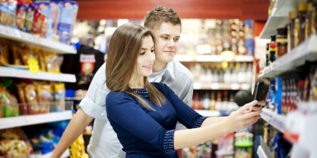 Young couple shopping at
