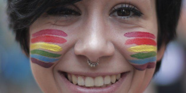 A girl with a 'rainbow' makeup takes part in the annual Lesbian, Gay, Bisexual and Transgender (LGBT)...