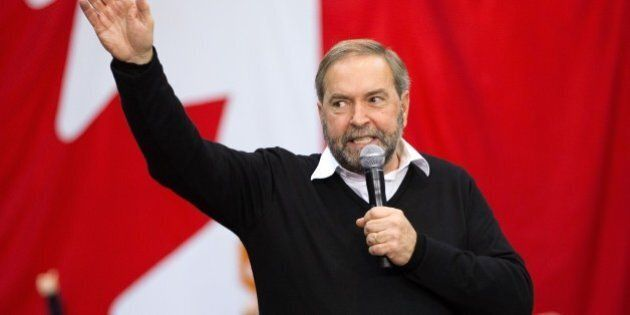 NDP leader Thomas Mulcair speaks at a campaign rally in London, Ontario October 4, 2015. New polling...