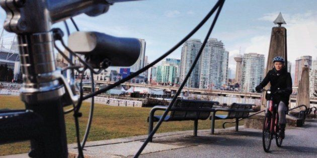 Riding the seawall, Vancouver.