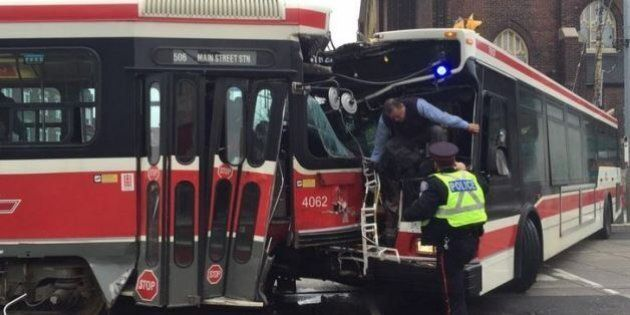 TTC Streetcar, Bus Head-On Collision Injures