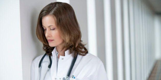 Female doctor looking