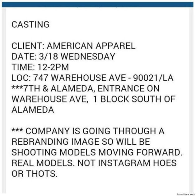 American Apparel Leaked Casting Call Asks For 'Real Models' Not 'Instagram