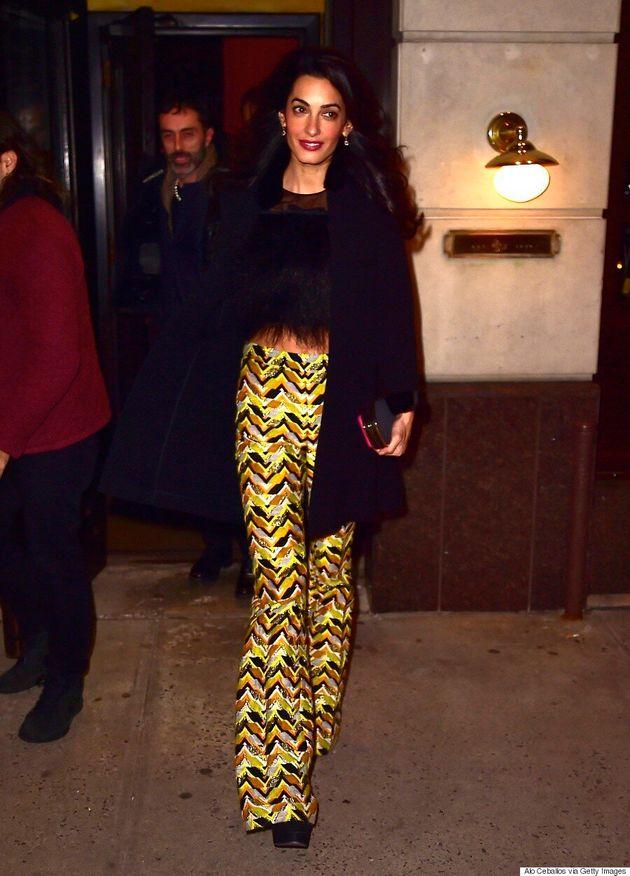 Amal Clooney Wears Feather Crop Top, Looks