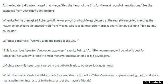 Gregor Robertson, Vision Vancouver Sue Kirk LaPointe, NPA For