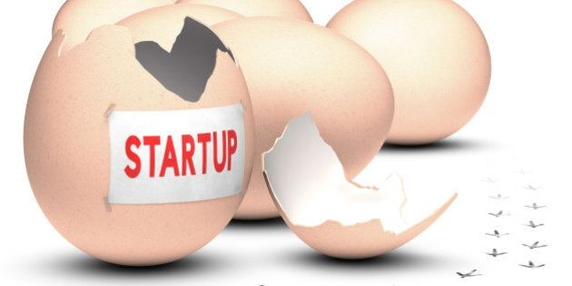 Business incubator concept. 3D render over white background. Five eggs plus one open, with bird footprint on the floor with the word startup written on a paper.