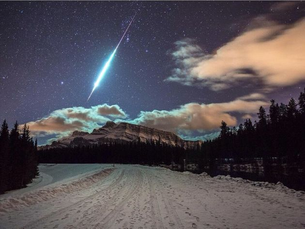 Banff Fireball Photo Captured Over Mount Rundle By Brett