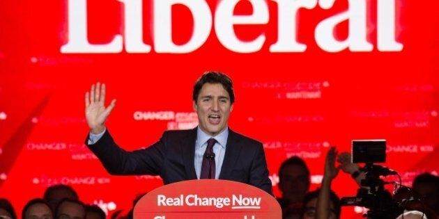 Canadian Liberal Party leader Justin Trudeau speaks in Montreal on October 20, 2015 after winning the...