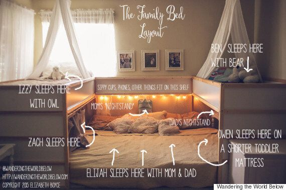Co-Sleeping: Unique Bed Hack Allows Family Of 7 To Sleep