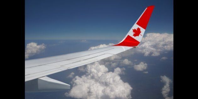 Country flag in airplane wing.