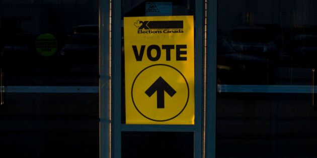 TORONTO, ON- OCTOBER 19:A voting sign on the voting centre of Birchmount Bluffs Community Centre during the 2015 Canadian federal election in the riding of Scarborough Southwest Monday evening.Lucas Oleniuk-Toronto Star        (Lucas Oleniuk/Toronto Star via Getty Images)