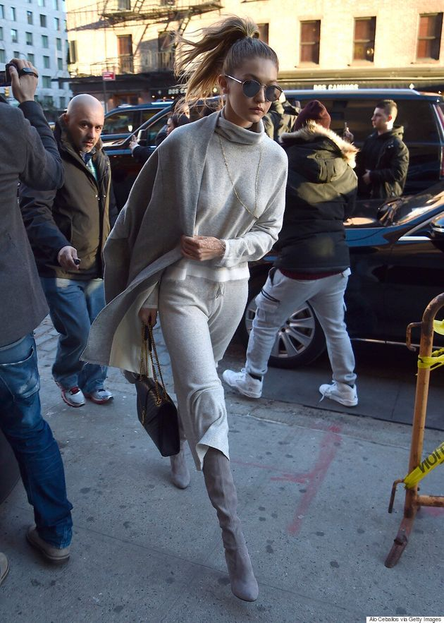 Gigi Hadid Rocks Monochrome Cashmere Ensemble While Apartment-Hunting With Zayn