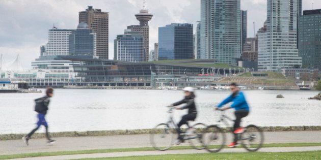 Biking/jogging on Stanley park sea wall.