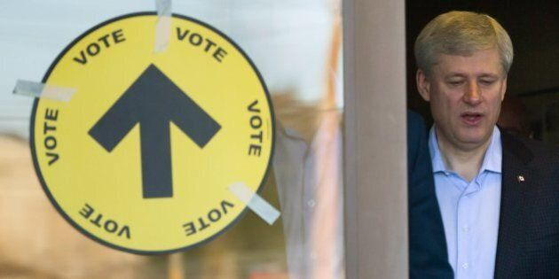 Stephen Harper Casts His Ballot, Says It's 'A Nice Blue