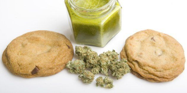 SANTA MONICA, CA - SEPTEMBER 17, 2007: Medical cannibis edibles still life of chocolate chip cookies,...
