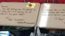 Teacher Turns Desks Into Motivational Notes To Kids During