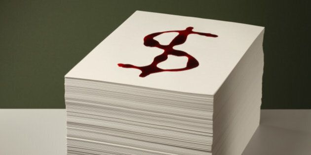 Bloody Dollar sign on Paper