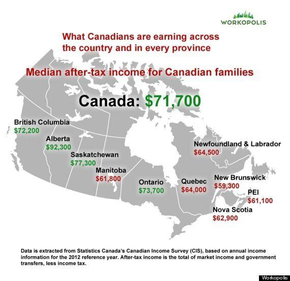 Canadians' Earnings By Province: What A Difference A Couple Time Zones