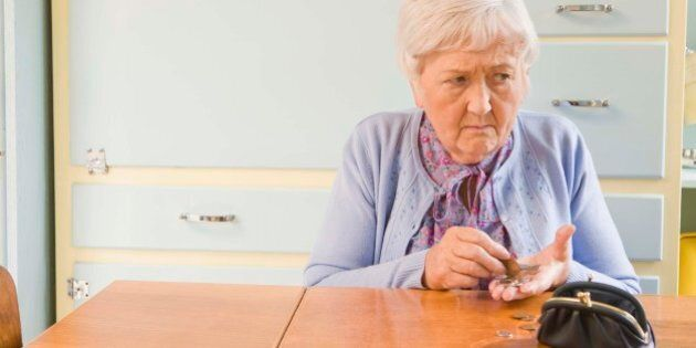 Worried woman counting