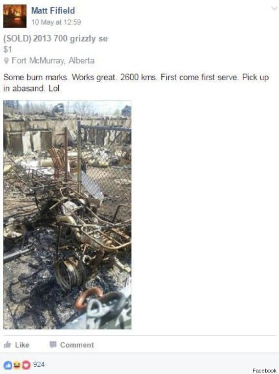 Fort McMurray Fire: Evacuee Shares Hilarious 'For Sale'