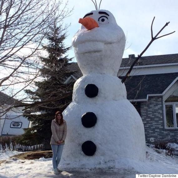 Giant Snowman Of Olaf From 'Frozen' Stuns Community Outside