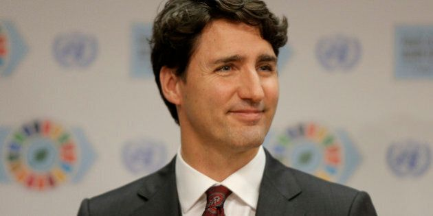 Canadian Prime Minister Justin Trudeau speaks during a press conference held on the sidelines of the...