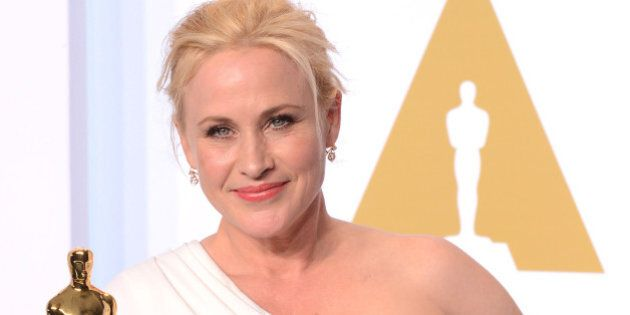 HOLLYWOOD, CA - FEBRUARY 22: Actress Patricia Arquette, with the award for best actress in a supporting...