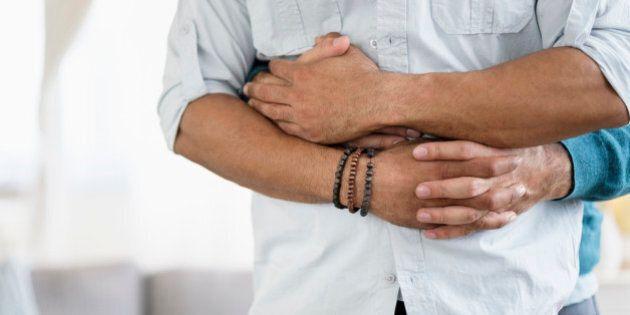 Hugging homosexual couple
