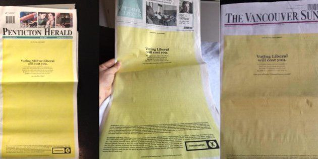 Postmedia, Sun Front Pages Replaced With Full-Page Political