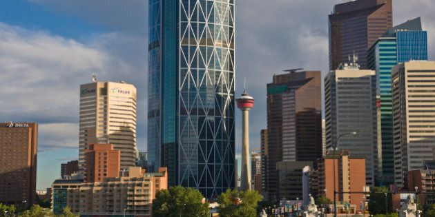 CALGARY, CANADA - JULY 3: The downtown skyline is viewed from the northside of the Bow River on July...
