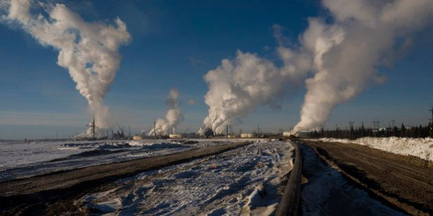FORT MCMURRAY, ALBERTA, CANADA - NOVEMBER 2008: Once the oil is extracted from the tar sand, the remains...