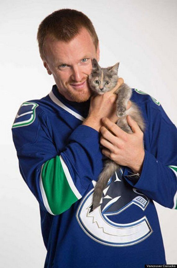 Vancouver Canucks Pose With Kittens For Their Holiday